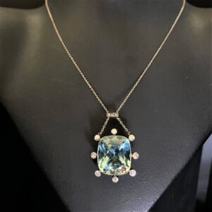 Antique Aquamarine and Diamond Pendant