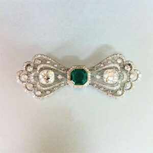 Antique Emerald & Diamond Brooch