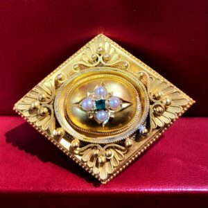 Antique Gold & Pearl Brooch