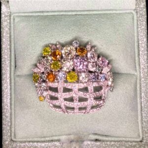 Antique Coloured Diamond Brooch