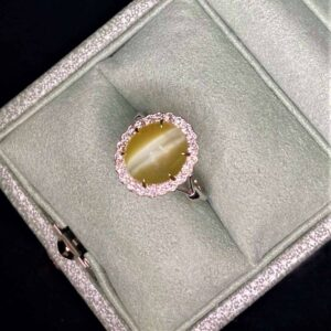 Chrysoberyl Catseye & Diamond Ring