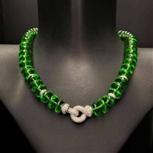 Green Sea Glass Necklace with Diamond Rondels and Clasp