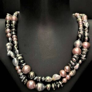 Multi-colour Tahitian and Freshwater Pearl Necklace